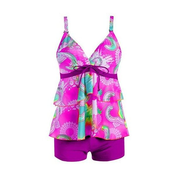 Layered Printed Purple Open Back Tankini Set ($27) ❤ liked on Polyvore featuring swimwear, bikinis, purple, print bikinis, tankini bikini, padded swimwear, patterned bikini and purple bikini