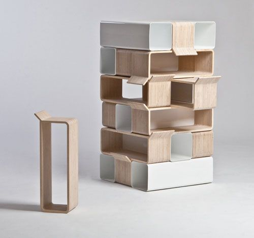 "Inspired in part by the classic game ""Jenga,""furniture bit is made to be a seat for a toddler, a bigger chair for a kid growing up"