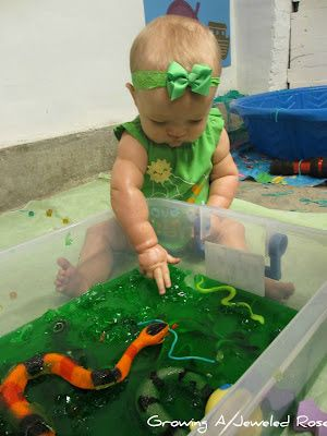 Sensory play activities for baby or toddler. Great ideas like jello exploration tubs, colored pasta digs, and homemade goop!