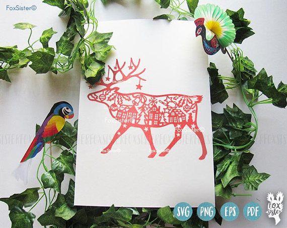 Reindeer, Deer svg Papercut Template | Christmas Deer | winter svg |deer antlers | village | Animal | Paper Cut file | present | for Cricut -------------------------------------------------------------------------------------------------- Deer head SVG/PDF template for hand and machine