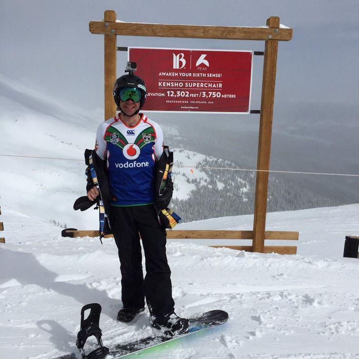 Representing the Vodafone Warriors at 12,302 feet on Peak 6 Breckenridge, CO in #Colorado #WarriorsForever