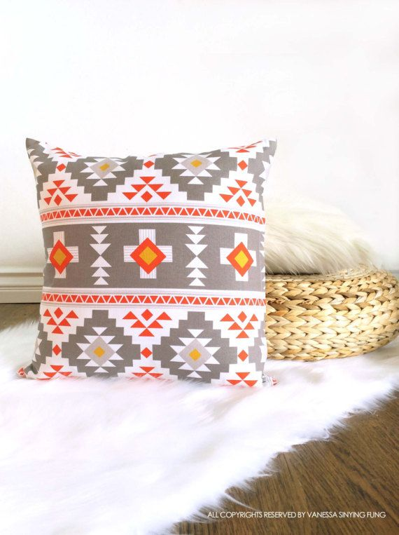 Scandinavian pillow cover geometric pattern 18 x 18 inches grey red white triangle decorative modern cushion cover