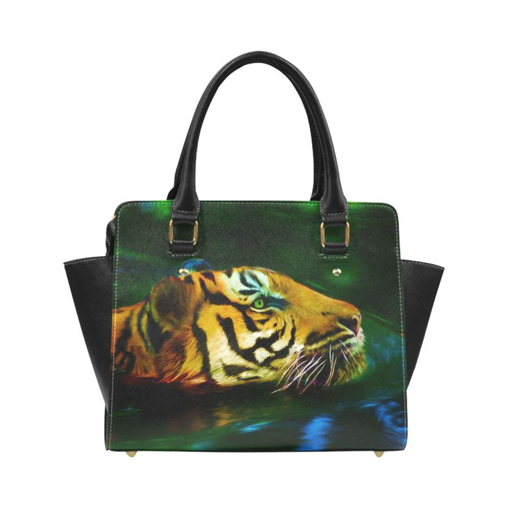 Tiger swimming in water digital painting Classic Shoulder Handbag by Tracey Lee Art Designs