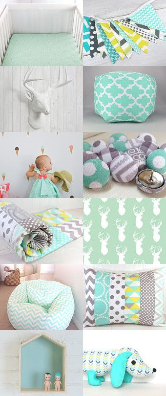 Modern Mint Nursery by Annette on Etsy--Pinned with TreasuryPin.com