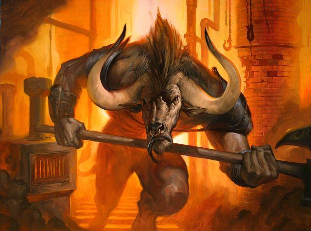 """Minotauro                     El Minotauro (del griego Μινόταυρος Minótauros) era un monstruo con cuerpo de hombre y cabeza de toro. Su nombre significa """"Toro de Minos"""", y era hijo de Pasífae y el Toro de Creta. Fue encerrado en un laberinto diseñado por el artesano Dédalo, hecho expresamente para retenerlo,ubicado en la ciudad de Cnosos en la isla de Creta. Por muchos años, siete hombres y otras siete mujeres eran llevados al laberinto como sacrificio para ser el alimento de la bestia…"""