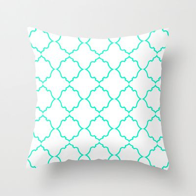 Moroccan White and Aqua Throw Pillow by House of Jennifer - $20.00
