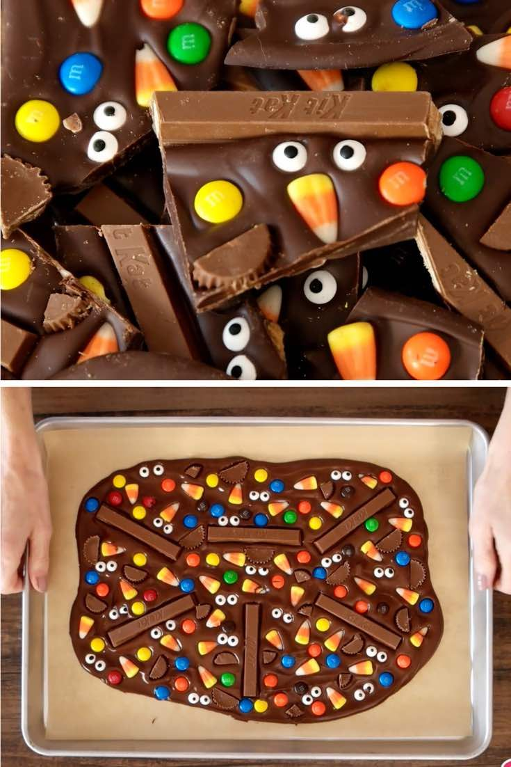 This photo shows pieces of Halloween Chocolate Bark made