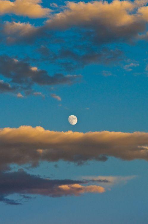 blue sky bright moon