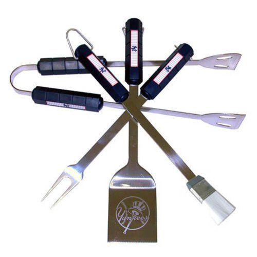 Siskyou MLB New York Yankees 4 Piece BBQ Set by Siskiyou. $48.97. The MLB BBQ set includes Spatula, Tongs, Fork, and Basting Brush with the team emblem on the colored handles of this 4 piece set. Topping it off with the logo laser etched on the blade of the spatula.