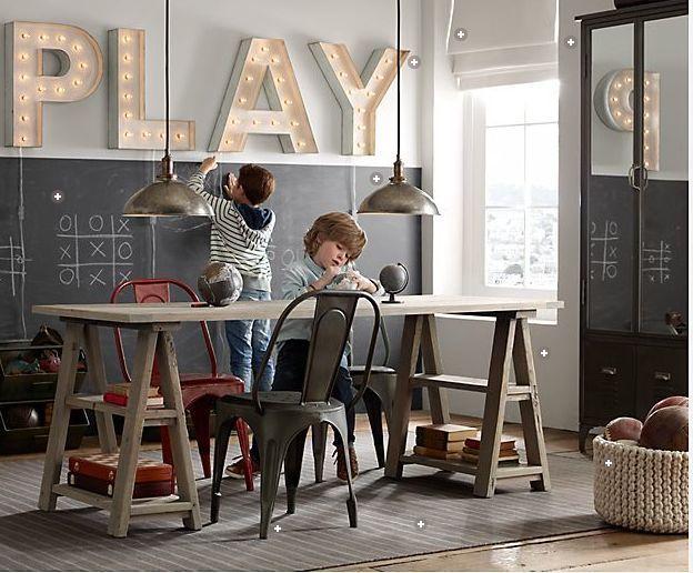 salle de jeux avec décor urbain - La touche d'Agathe - Children, child, room, bed, chambre , lit, playroom, salle de jeux,