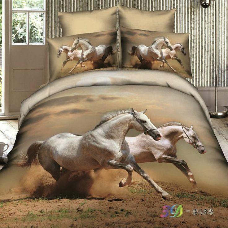 Unique Animal 4pc Bedding Set White Running Horse 3d Luxury Cotton DuvetQuilt Cover Bed Sheet