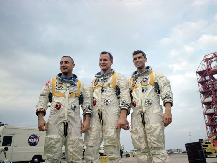 """The crew of the ill fated Apollo 1   Virgil I. """"Gus"""" Grissom, Edward H. White II and Roger B. Chaffee"""