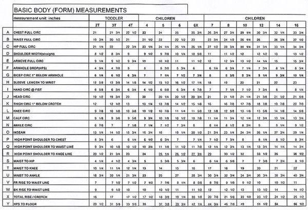Image Result For Standard Child Measurement Chart Good