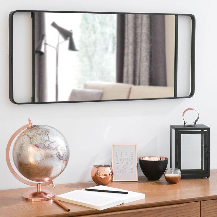 Miroir en métal noir H 64 cm NELLIGAN