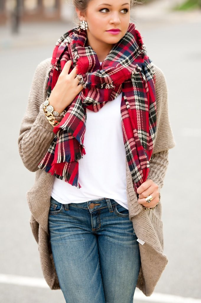 red plaid scarf #swoonboutiuqe