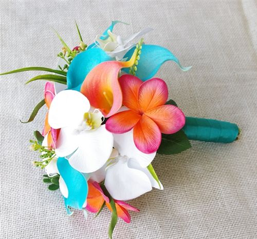 Teal Turquoise and Coral Natural Touch Green Orchids, Plumerias and Calla Lilies Bouquet   I think I found you wedding bouquet!!!