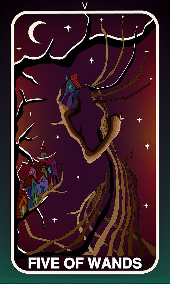 Tarot Card, Five of Wands  #wands #witch #gothic #illustration #tarotdeck #children #tales #city #adventure #magic