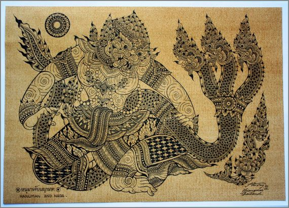 Thai traditional art of Hanuman And Naga by by AmornGallery