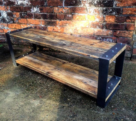 Industrial Chic Style Reclaimed Custom Coffee Table TV Unit – Steel Solid Wood Metal Hand Made in Sheffield 395