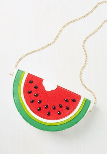 The Slice is Right Bag - Red, Black, White, Casual, Daytime Party, Quirky, Food, Summer, Good, Saturated, Green, Novelty Print, Beach/Resort, Fruits