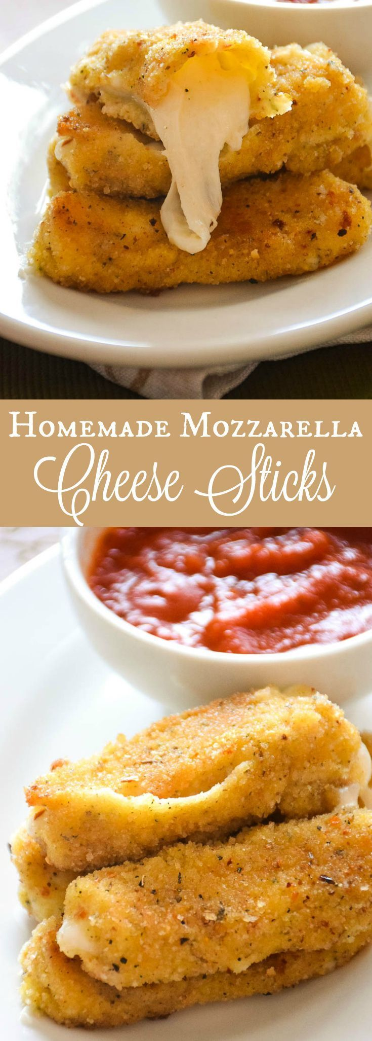 Homemade Mozzarella Cheese Sticks - Full of flavor, melty and stringy homemade mozzarella cheese sticks are an easy appetizer treat to make right at home for your family or guests. #SundaySupper