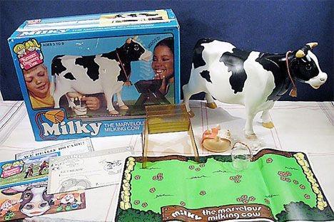 """Kids today want iPods, video games and all sorts of entertaining electronics. Apparently the 70s were considerably more boring if this vintage commercial is any indication. Milky the Marvelous Milking Cow was a plastic cow toy from 1978 that """"drank"""" water and produced fake milk with the help of special tablets in her stomach. Kids [...]"""