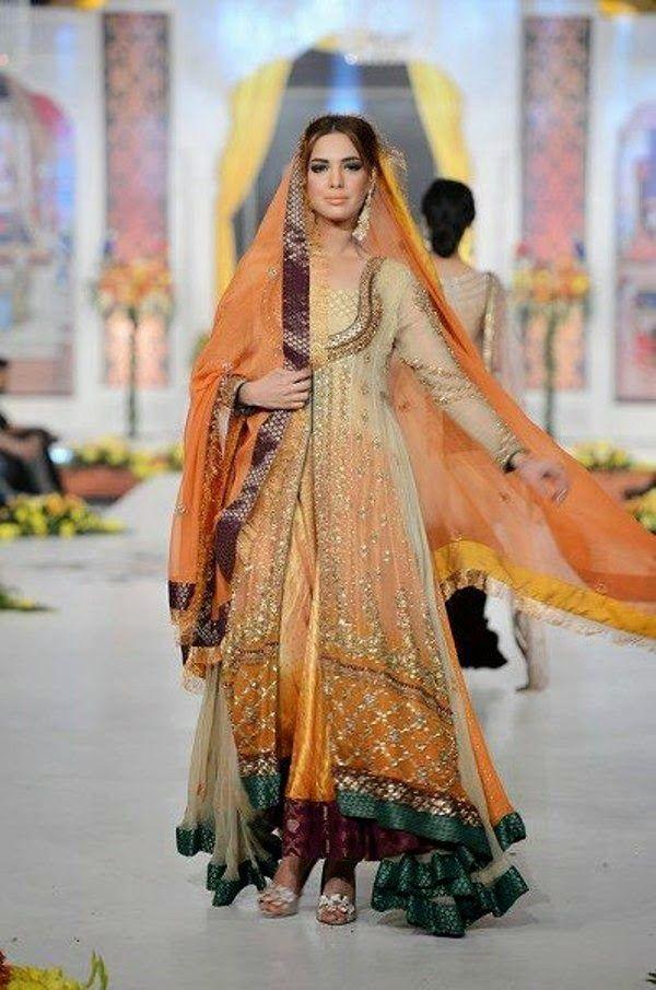 Color Mehndi Wear Dresses 2014 | Mehndi Dresses 2014 ideas for Bride