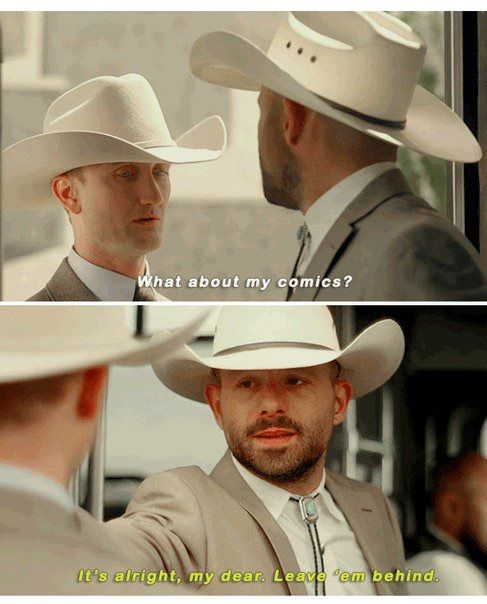 "Fiore: What about my comics? DeBlanc: It's all right, my dear. Leave 'em behind. #Preacher 1x09 ""Finish The Song"""