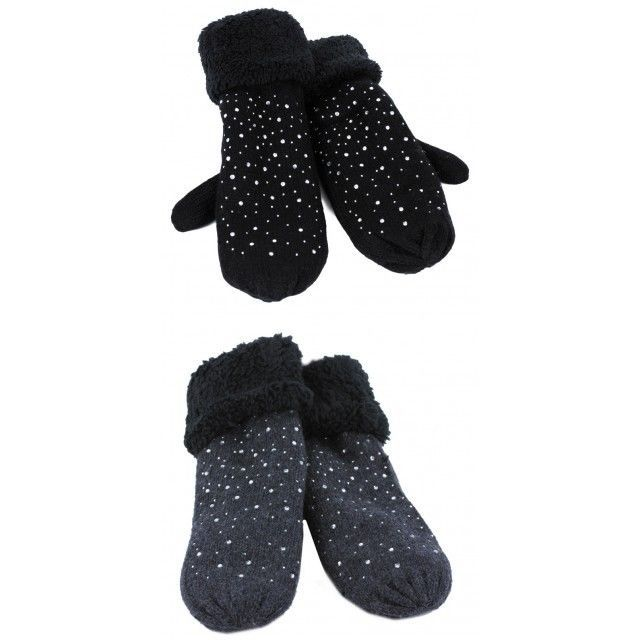 Knitted Glitter Mitts Mittens Fully Lined Faux Fur Cuff  NWT Available 2 colors #Simi #Mittens #Everyday