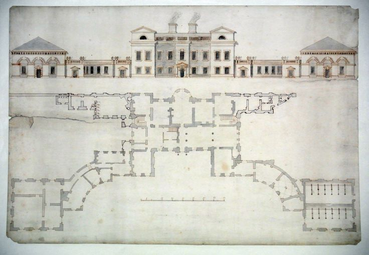 Principal elevation and ground floor plan of Normanton Park, Rutland, showing proposed additions 206288 | National Trust Collections