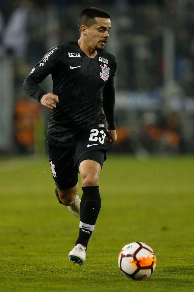 Santiago Chile August 08 Fagner Of Corinthians Drives