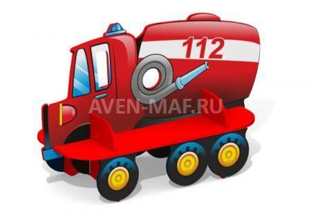 """Скамейка детская из дерева С-168 """"Пожарная машина"""", купить в компании """"Авен"""""""