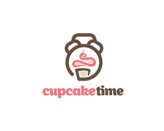 cupcake time | 35 Beautiful #Logos Inspired By Clocks
