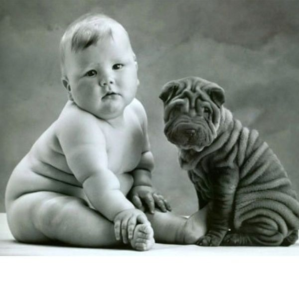 Chubby baby and dog