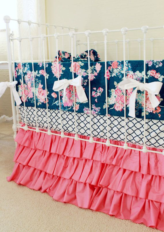 Pink and Navy Baby Girl Bedding custom crib by LottieDaBaby... In love with this in a gold crib