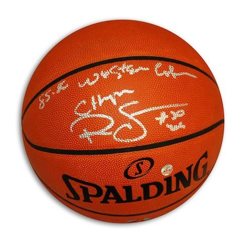 """Autographed Ralph Sampson Official NBA Basketball Inscribed """"""""1985-86 Western Conf Champs"""""""""""