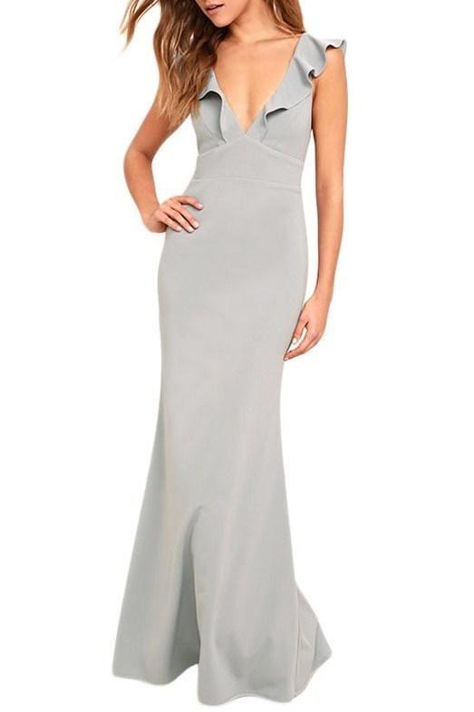 Gray Deep V Neck Ruffle Detail Long Party Dress modeshe.com