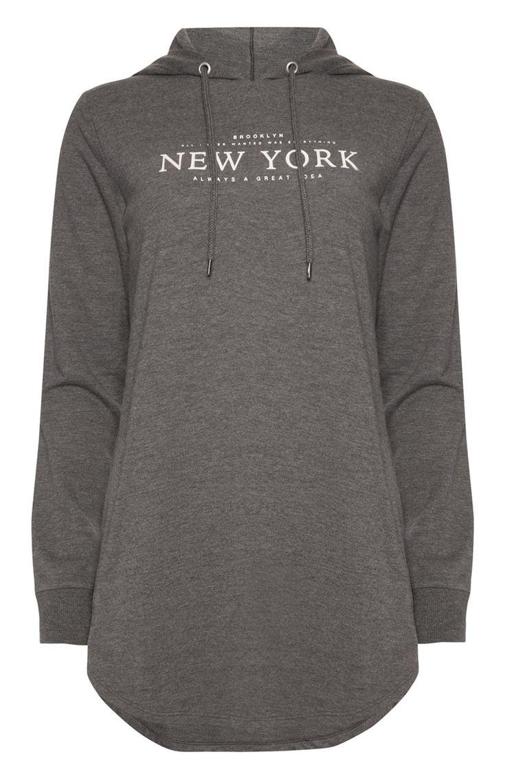 Primark - Graues Pulloverkleid mit Kapuze