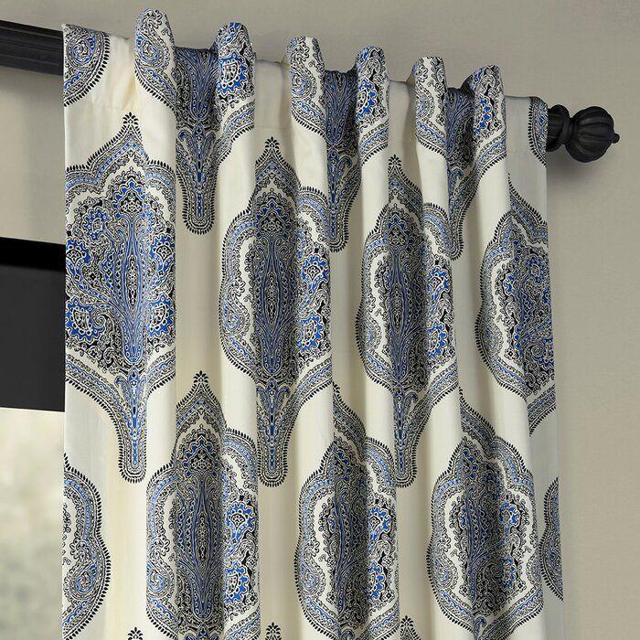 Lunaire Printed Cotton Twill Damask Room Darkening Tab Top Curtains Reviews Joss Main Panel Curtains Curtains Taupe Curtains