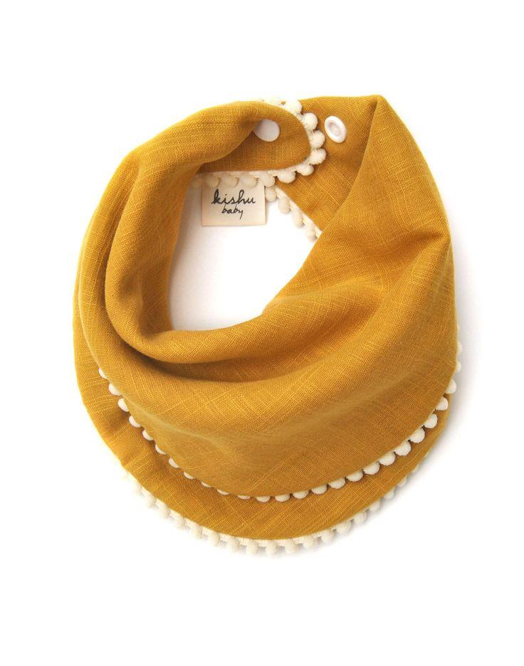 Kishu Baby Pom Pom Bib for Girls | Set of 2 | Mustard with Ivory Trim, Purple with Ivory Trim | Premium 100% Cotton Muslin