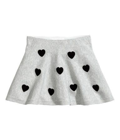 3ced0ef65a Gray melange/hearts. Short skirt in fine-knit cotton-blend fabric with an  elasticized waistband and terry hearts. Unlined.