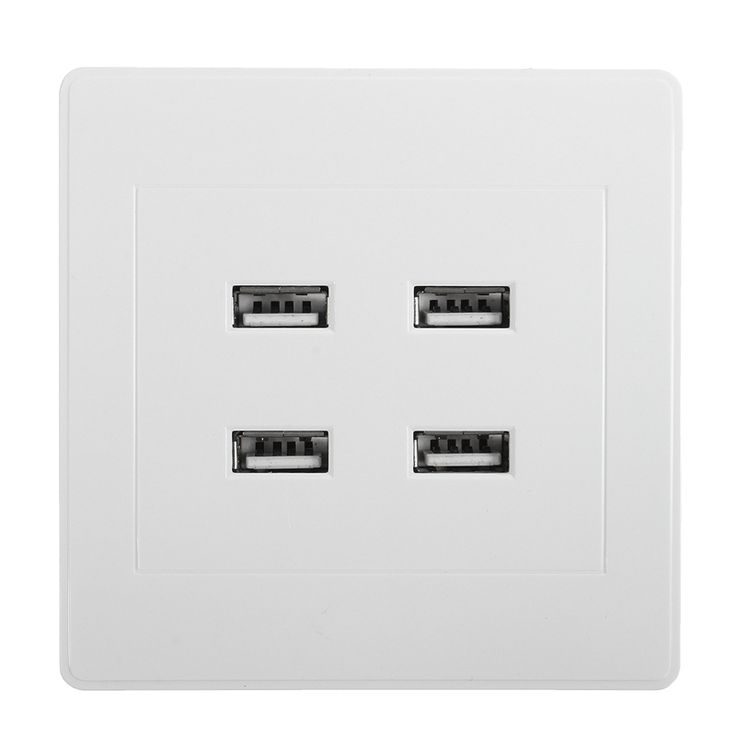 New DC 4 Ports USB 5V 3.1A Electric Wall Charger Dock Station Socket Power Outlet Panel Plate Switch Power Supply Adapter Plug