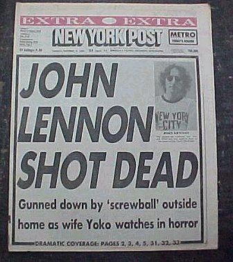 John Lennon was shot and killed by Mark David Chapman on December 8, 1980, in front of the Dakota Apartments in New York.