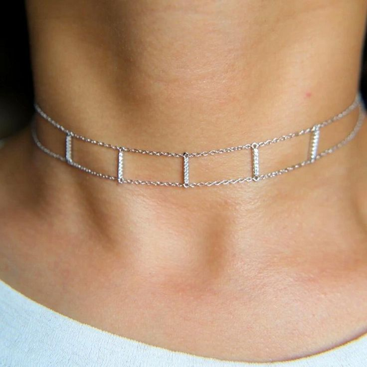 Buy Bar & Double Chain Choker Necklace bar pendants, delicate chain choker, double chain choker necklace, double chain necklaces, gold, gold chain chokers, rose gold, sterling silver