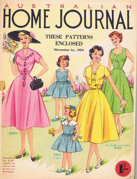 Vintage Patterns.  1954  Australian Home Journal, contains 3 dress Patterns
