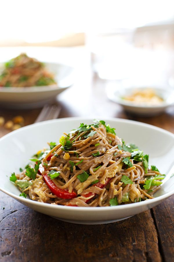 Spicy Peanut Chicken Soba Noodle Salad - colorful bell peppers, chewy soba noodles, shredded chicken, and a life changingly simple Spicy Peanut Sauce. Hot or cold, yum yum yum. 320 calories.