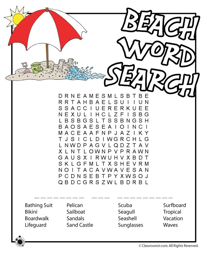 beach word search for road trip binder