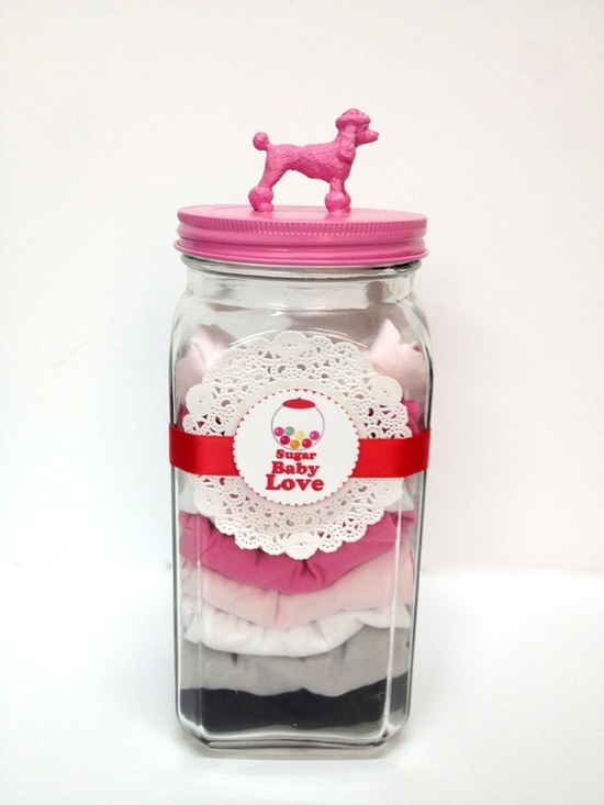 a great gift idea: baby clothing in a sweet jar!