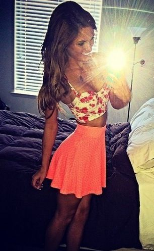 Day Outfit- coral skirt <3 not crazy about the top though. I would probably add a black crop top instead.