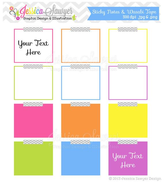 INSTANT DOWNLOAD, , sticky note clipart, digital frame, teacher clip art,  for commercial use, classroom, scrapbooking